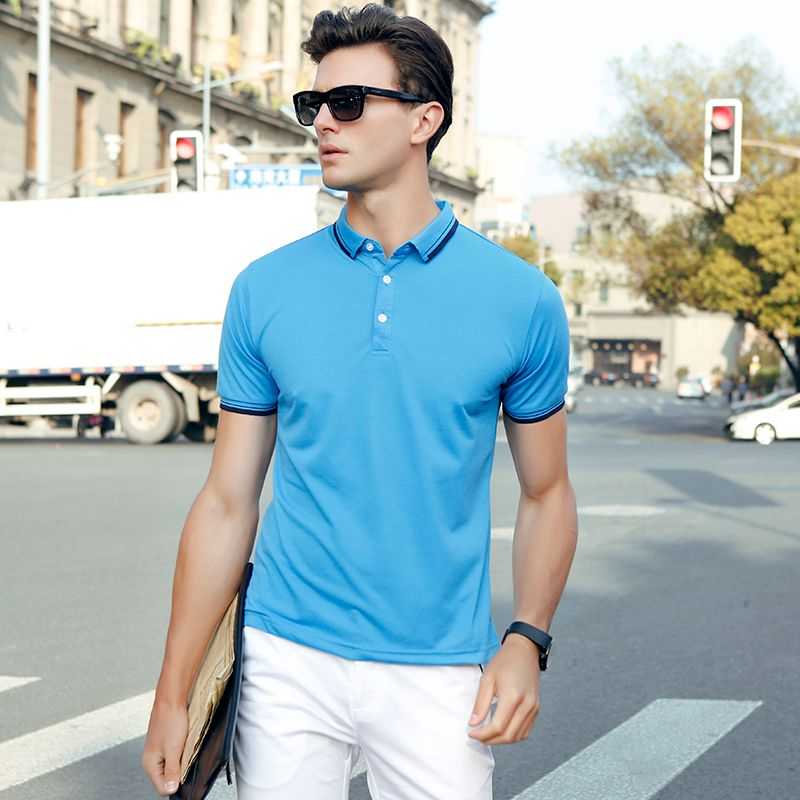 Hot Sale 2017 New Fashion Summer Mens Polo shirt Solid Color Short-Sleeve Slim Fit Shirt male polo Shirts