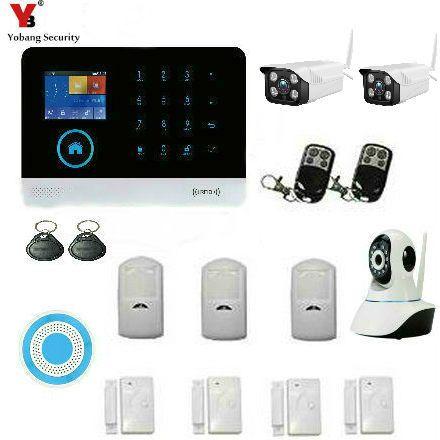 YobangSecurity Wireless GSM WIFI Portable Auto Dialer DIY Home Alarm System + Wireless WIFI Outdoor Indoor IP Security Camera