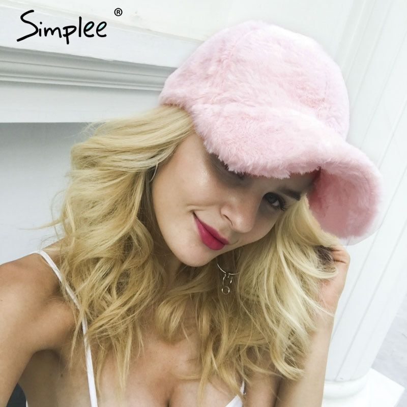 Simplee Winter pompom pink suede baseball cap Women autumn casual streetwear black hat cap 2017 Elegant female hat cap
