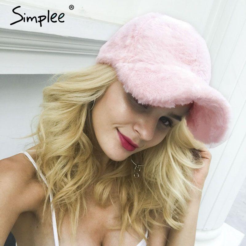 Simplee Winter pompom pink suede baseball cap Women autumn casual streetwear black hat cap 2017 Elegant female hat cap