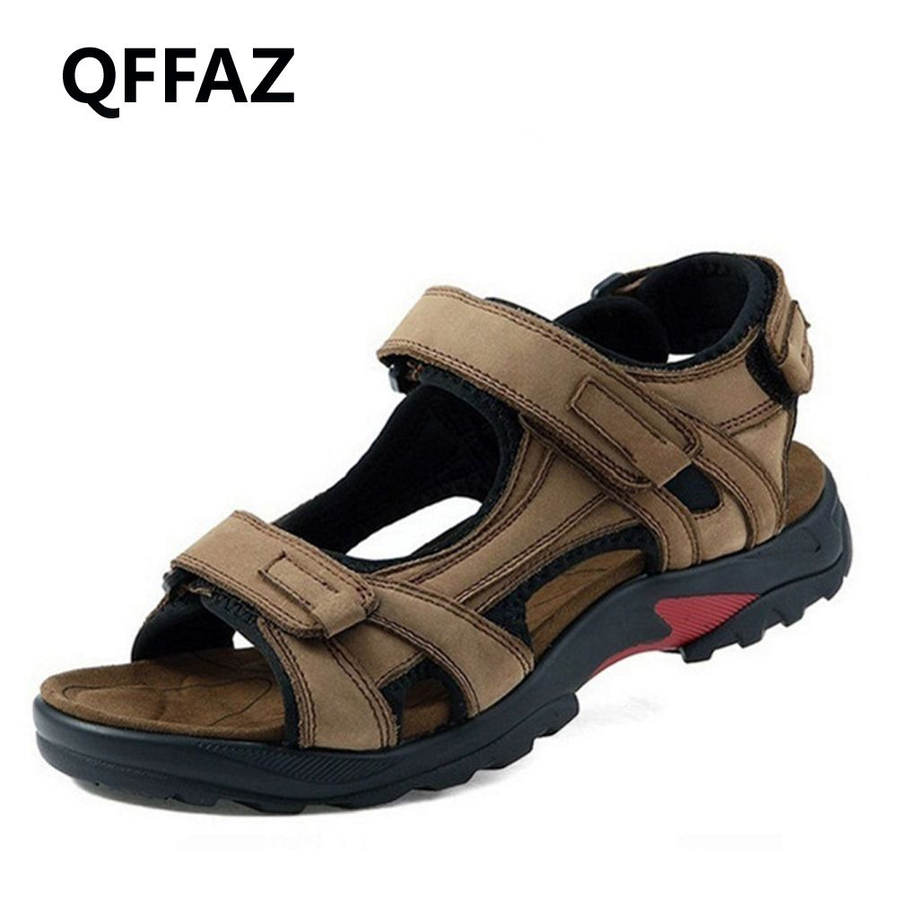 QFFAZ New High Quality Summer Men Sandals Genuine Leather Men Sandals Comfortable Men Shoes Fashion Plus Size