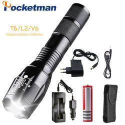 12000 люмен 5-режим Pocketman T6/L2/V6 светодио дный фонарик с зарядным устройством Масштабируемые перезаряжаемые Фокус Свет факела Фонари 1*18650
