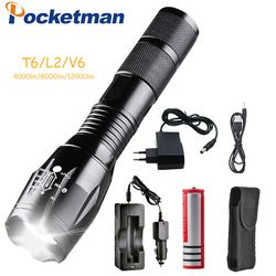 12000 Lumens 5-Mode Pocketman T6/L2/V6 LED Flashlight with charger Zoomable rechargeable Focus Light Torch Lantern by 1*18650