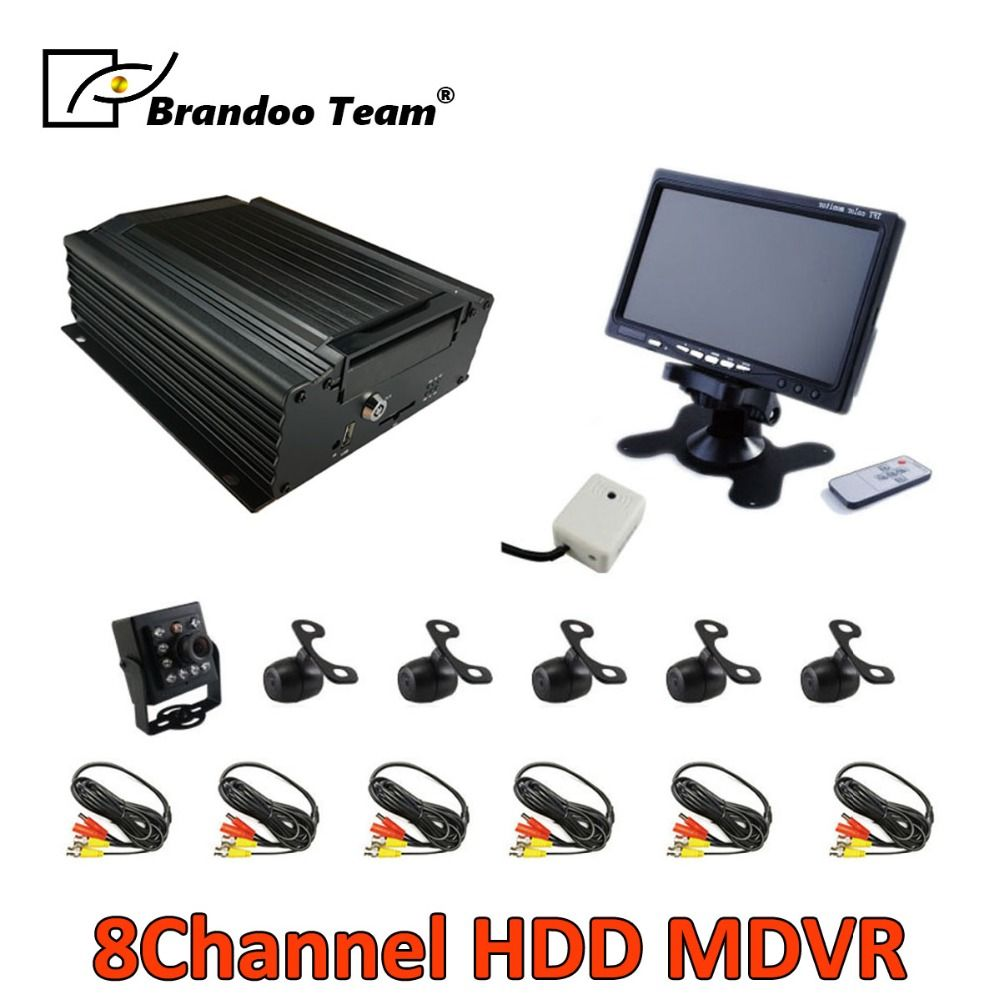8CH 960H BUS DVR kits with 6 cameras and 7 inch monitor for bus, train,van,truck used,Free shipping,support Russian/English menu