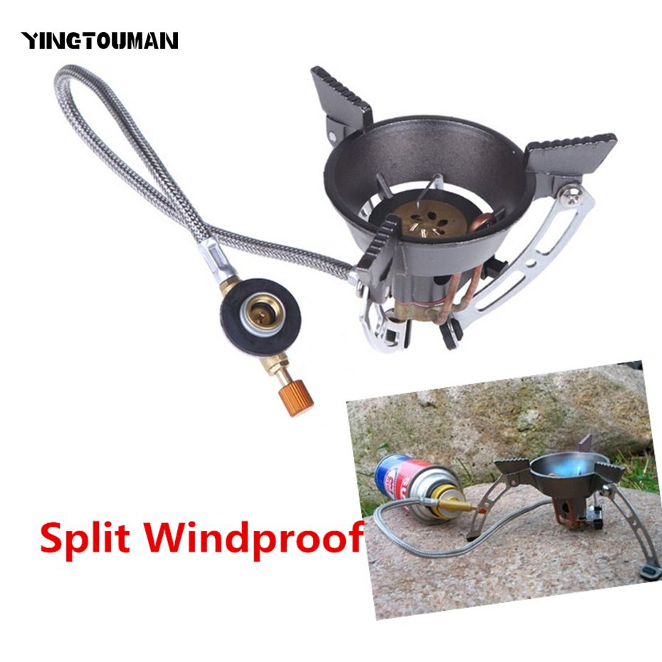 BRS-11 Portable coupe-vent extérieur brûleur à gaz Camping cuisinière cuisinière à gaz randonnée escalade pique-nique brûleurs à gaz avec adaptateur cuisinière à gaz