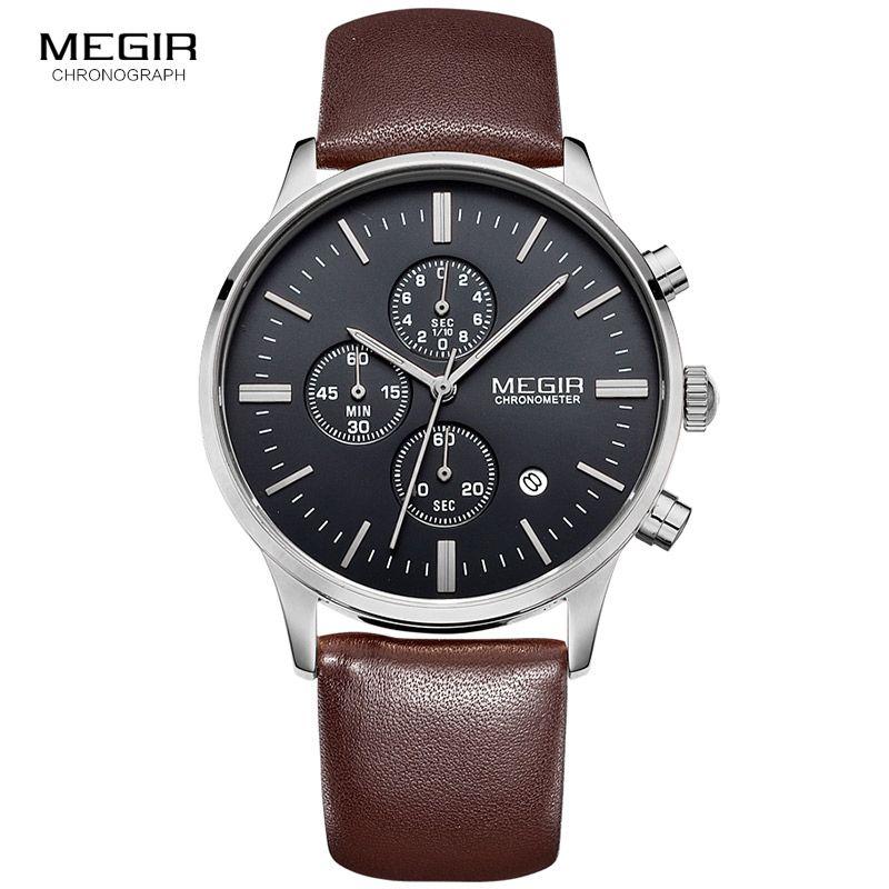 Megir quartz watches men luminous waterproof sports watch man commercial leather wristwatch 2011 free shipping