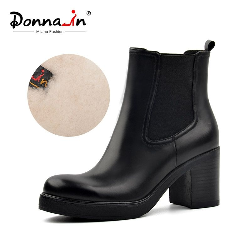 Donna-in women genuine leather snow boots natural wool fur insole winter booties platform shoes high heels Chelsea ankle boots