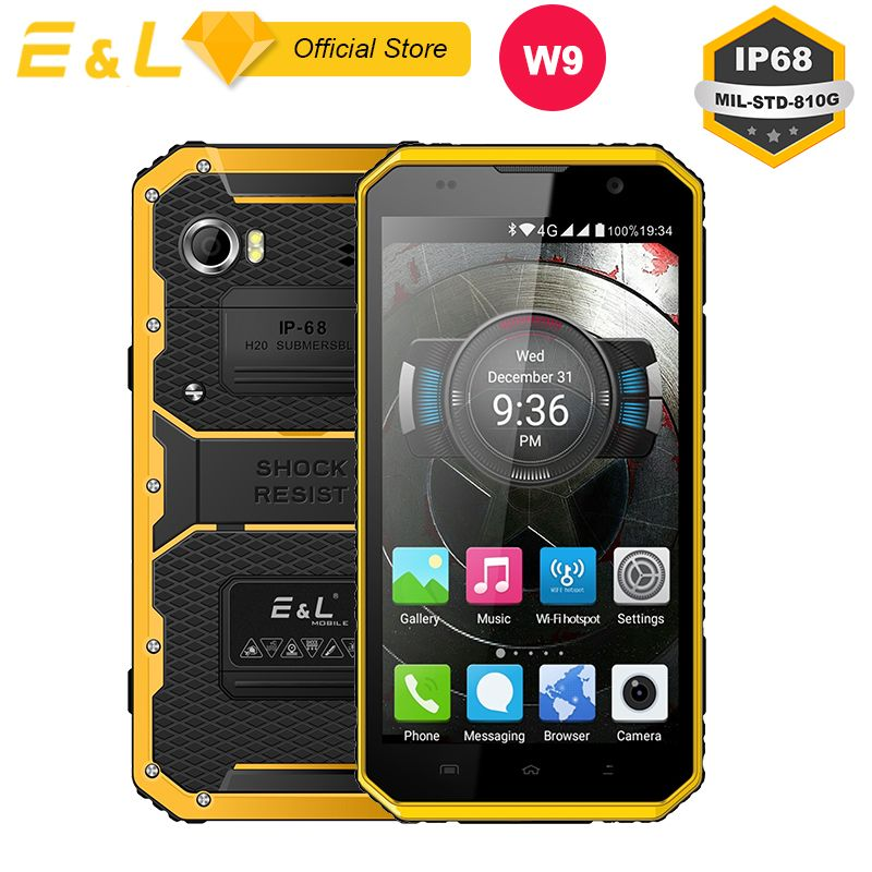 E&L W9 Waterproof Smartphone Inch 4G IPS Full HD Mobile Phone Octa Core 4000mAh IP68 Rugged Shockproof Touch Android 6.0 Phone
