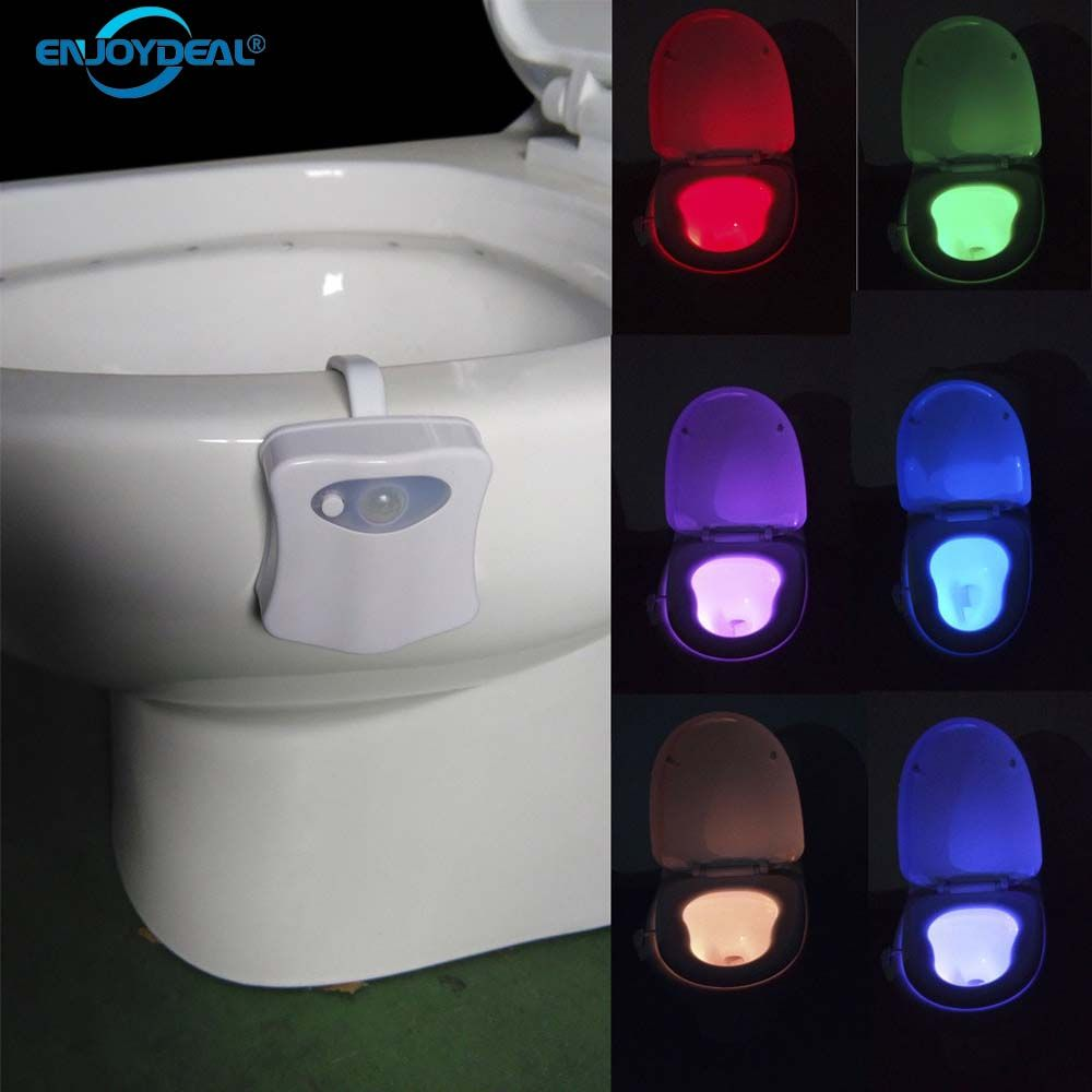 New Sensor Toilet Light 8 Colors LED Battery-operated Lamp Human Motion Activated PIR Automatic RGB LED Toilet Nightlight