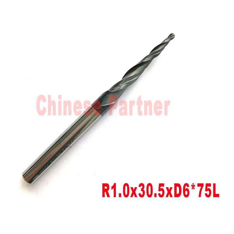 2pcs-R1.0 * D6 * 30.5 * 75L * 2F HRC55 carbure de tungstène solide boule conique nez fraise cône fraise CNC fraise bois