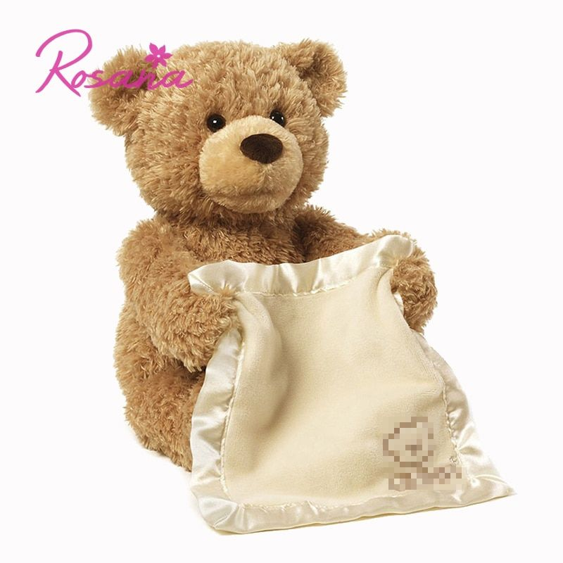 30cm Peek Boo Talking Teddy Bear Plush Doll Stuffed Animals Hide Seek Musical Shy Bear Play Toy Gift for Children Kids Friend