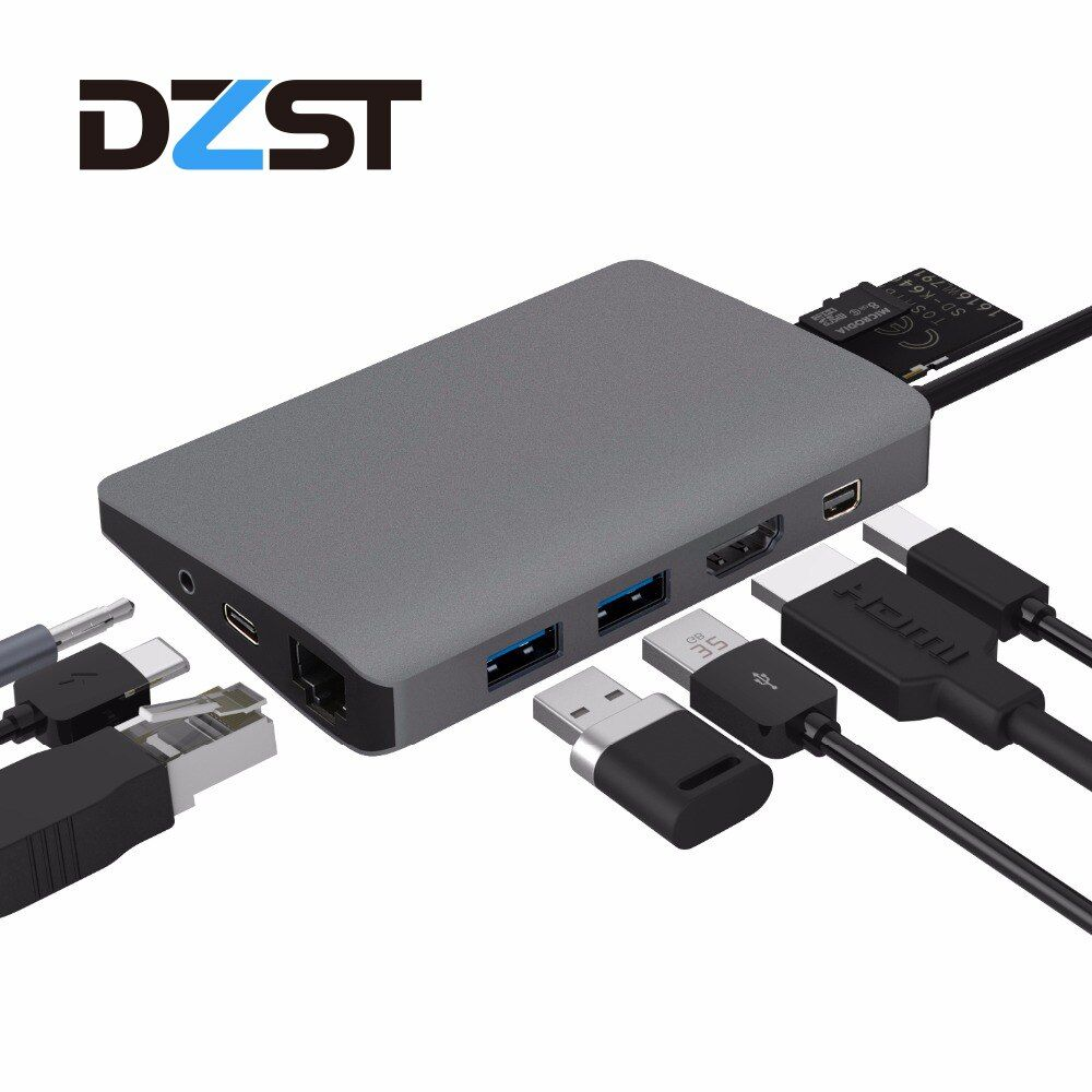 DZLST USB Typ C Hub zu USB/HDMI/RJ45/Mini DP/SD Kartenleser Audio Splitter für MacBook Samsung S9 Huawei P20 Thunderbolt 3 Hub