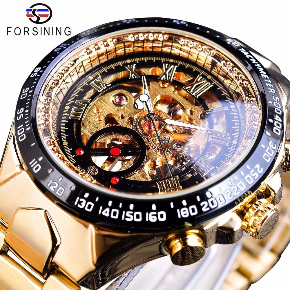 Forsining Stainless Steel Classic Series Transparent <font><b>Golden</b></font> Movement Steampunk Men Mechanical Skeleton Watches Top Brand Luxury