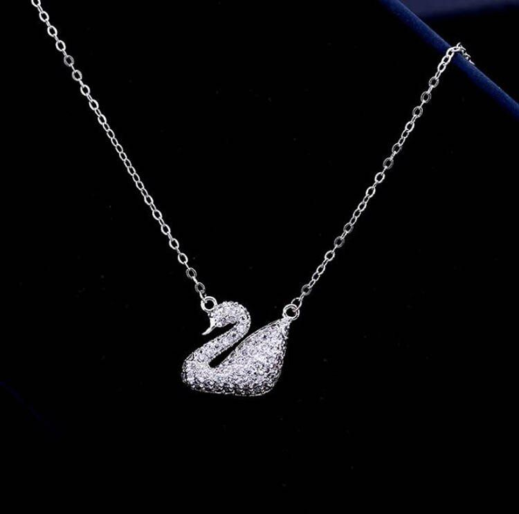 OL Style Fashion Charms Short Clavicle Necklace Exquisite Micro Pave Premium Zircon Crystals Swan Necklace&Pendant for Women