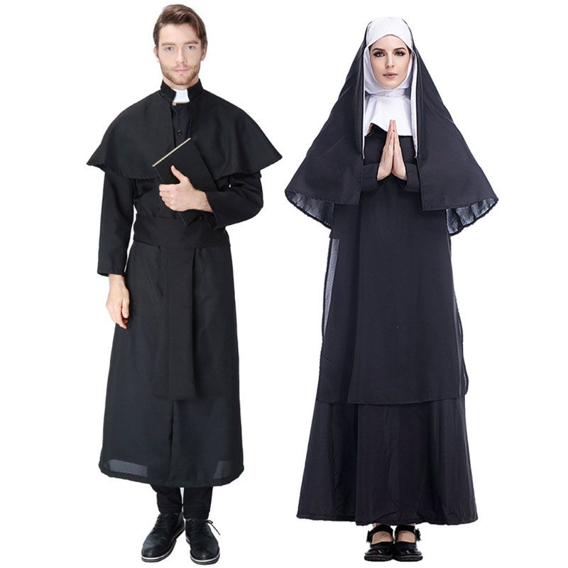 Halloween Easter Costumes Deluxe Women Virgin Mary The Nun Costume Men Missionary Christian Clergyman Priest Jesus Costumes
