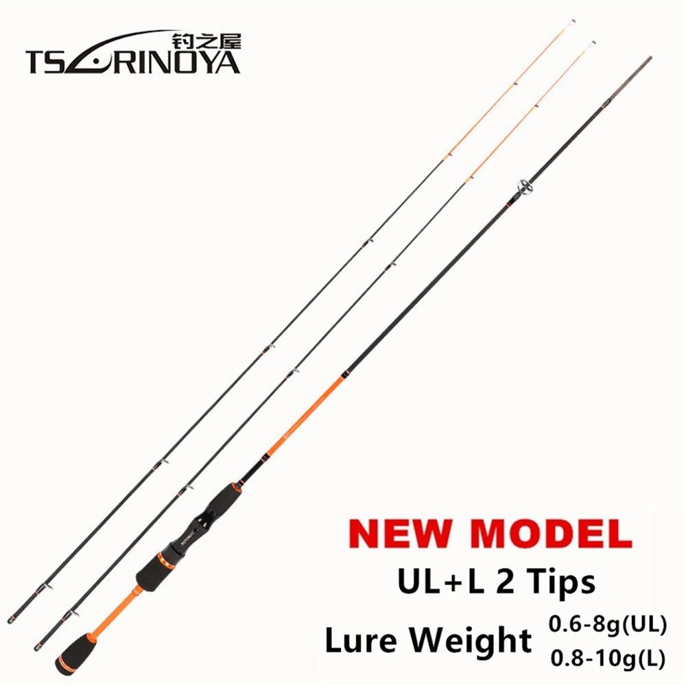 TSURINOYA JOY TOGETHER IV 1.8m UL + L Luminous 2 Tips Night Fishing Spinning Rod Ultra Light C.W 0.6-8g Carbon Fiber Fishing Rod