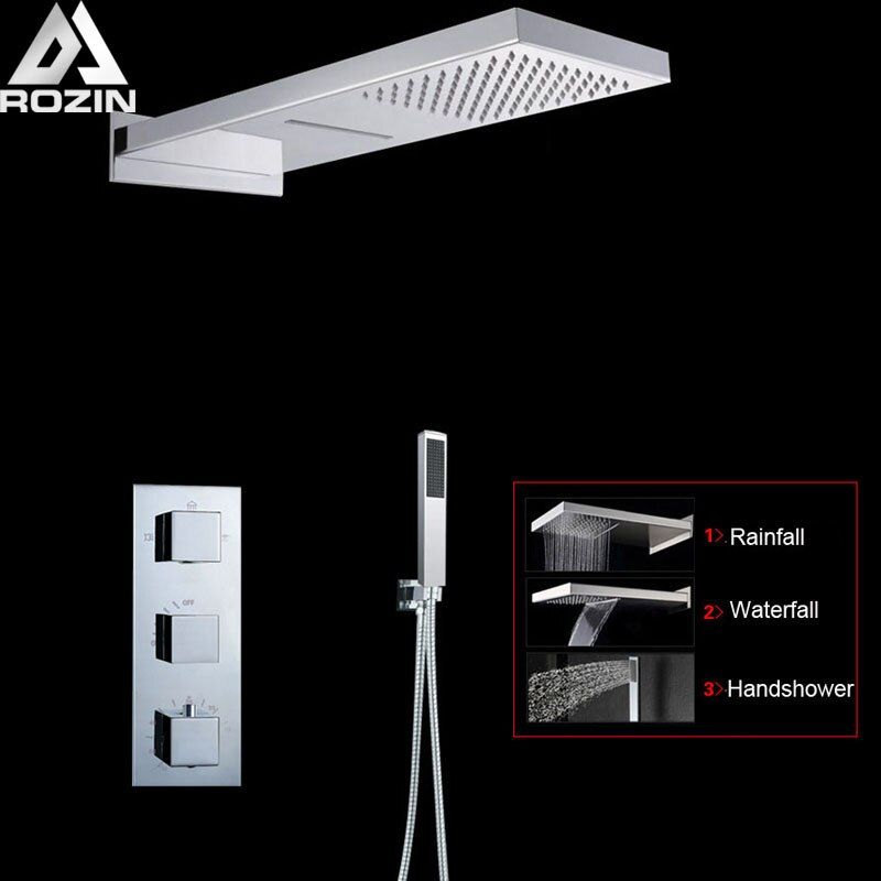 Bright Chrome Thermostatic Shower Faucet Column 3 Handle Bathroom Waterfall Rain Shower Mixers with Hand Shower Tap