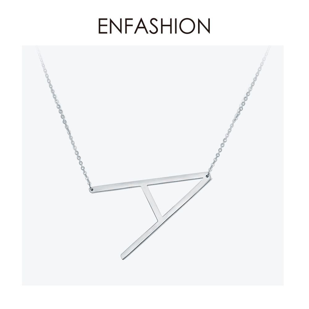Enfashion lettre colliers pendentifs Alfabet initiale Collier en acier inoxydable Collier ras du cou femmes bijoux Kolye Collier collare