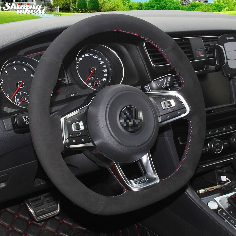 Shining wheat Black Suede Steering Wheel Cover for Volkswagen Golf 7 GTI Golf R MK7 VW Polo GTI Scirocco 2015 2016