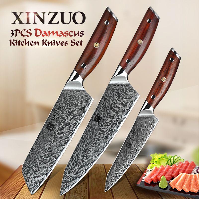 XINZUO 3 PCS Küchenmesser Sets Damaskus Stahl VG10 Santoku Chef Utility Küche Messer Super Scharfe Messer Geschenk Messer Werkzeuge
