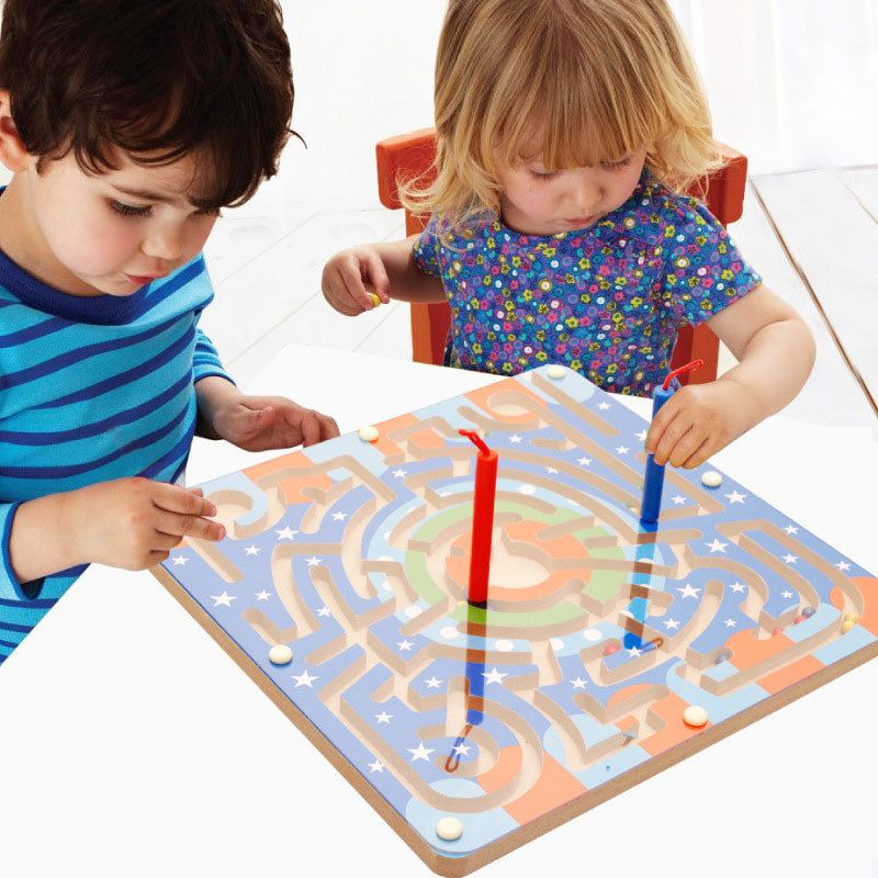 Simingyou 2 In 1 Wooden Magnetic Maze Game Labyrinth Board Chess Intelligence Games Children Toys  A50-4008  Drop Shipping