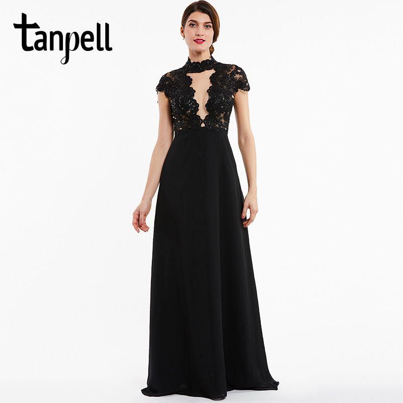 Tanpell cap mangas piso-longitud de cuello alto vestido de noche negro una línea de vestido barato de cuentas de encaje lentejuelas mujeres de noche largo vestidos
