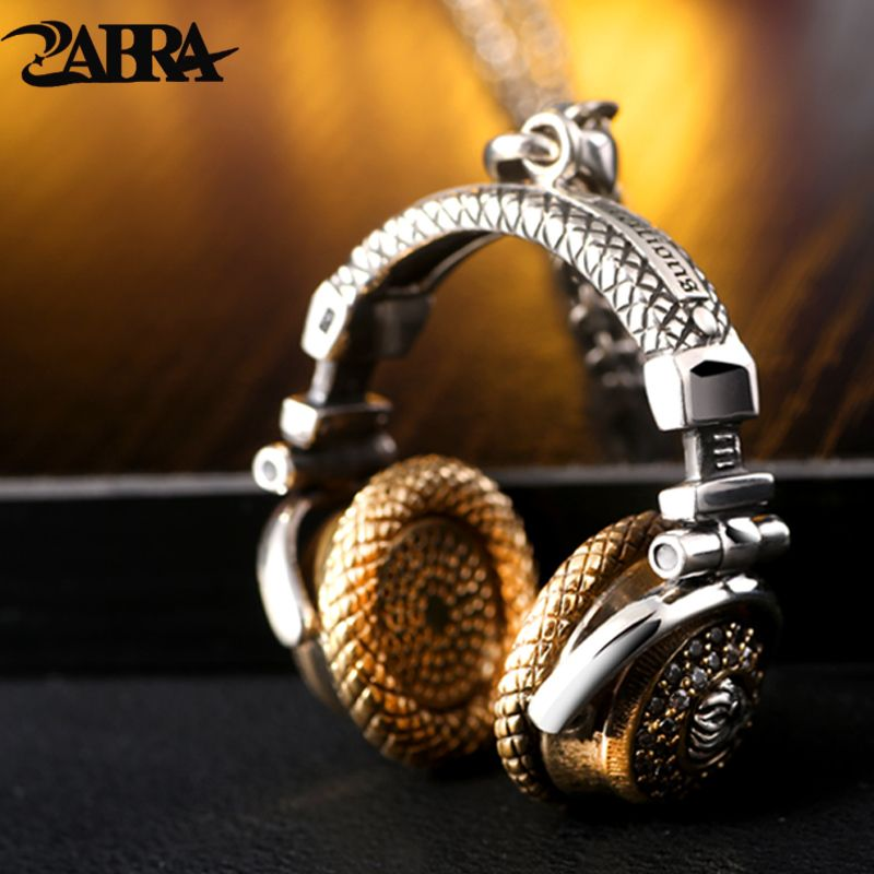 ZABRA Solid 925 Sterling Silver Big Music Headset Pendant Necklace for Boys 44*40mm Vintage Cool Steampunk Biker Male Jewelry