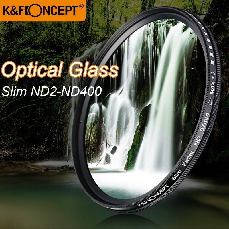 K&F CONCEPT Slim ND2-400 Neutral Density Fader Variable ND Filter Metal <font><b>Frame</b></font> Optical Glass Lens Adjustable 52/55/58/67/72/77mm