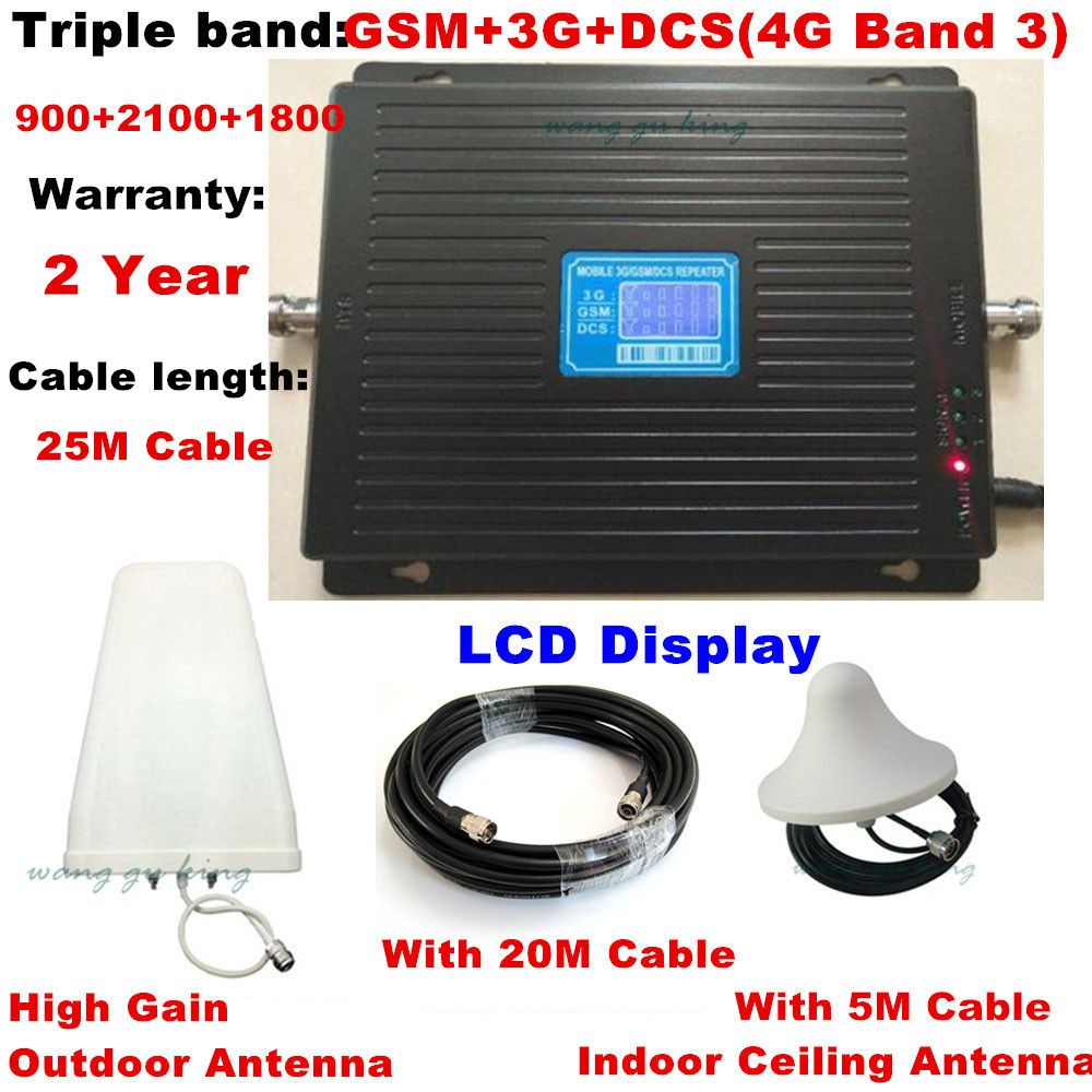 LCD display TriBand 2G 3G 4G GSM repeater 900 WCDMA 2100 LTE 1800 cellular Signal Booster 70dB Gain gsm Repeater 3G 4G Amplifier