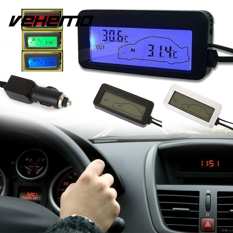 Vehemo Mini Digital LCD Car Thermometer Voltmeter Auto Indoor/Outdoor Temperature Meter Gauge Instruments DC 12-24V