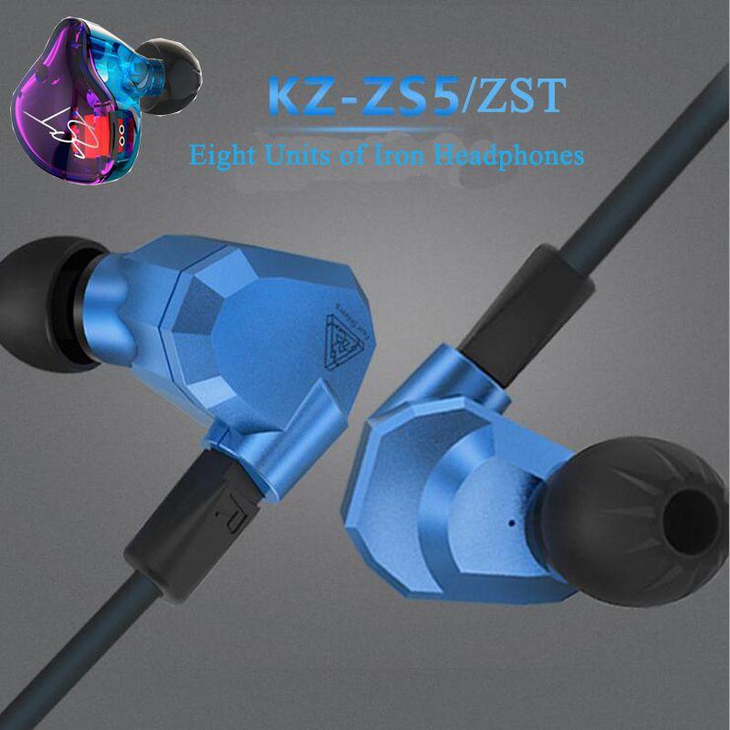 KZ ZS5/ZST, 2DD + 2BA Hybride Dans L'écouteur D'oreille, HIFI DJ Moniteur de Course Sport Suppression Du Bruit des Écouteurs Boules Quies, casque Intra-auriculaires Date