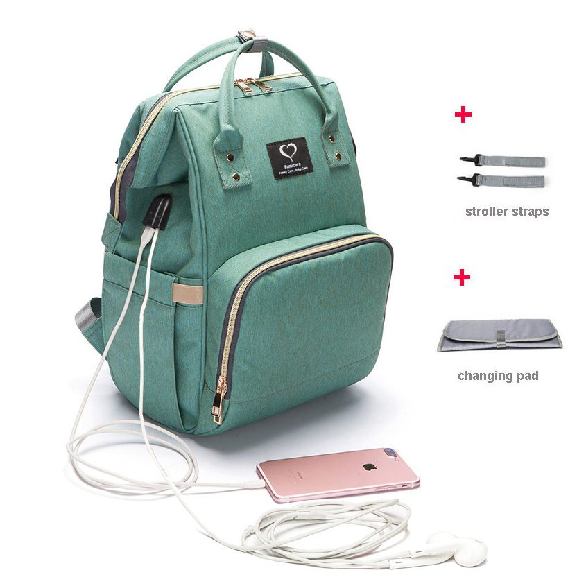 Sac à langer sac à dos USB écouteurs Interface sac à couches imperméable à l'eau de maternité voyage Designer sac d'allaitement bébé soin poussette sac