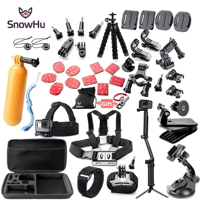 SnowHu For Gopro accessories set mount tripod for go pro hero 5 4 3 sjcam <font><b>sj4000</b></font> for Go pro 5 kit for xiaomi yi 4K camera GS52