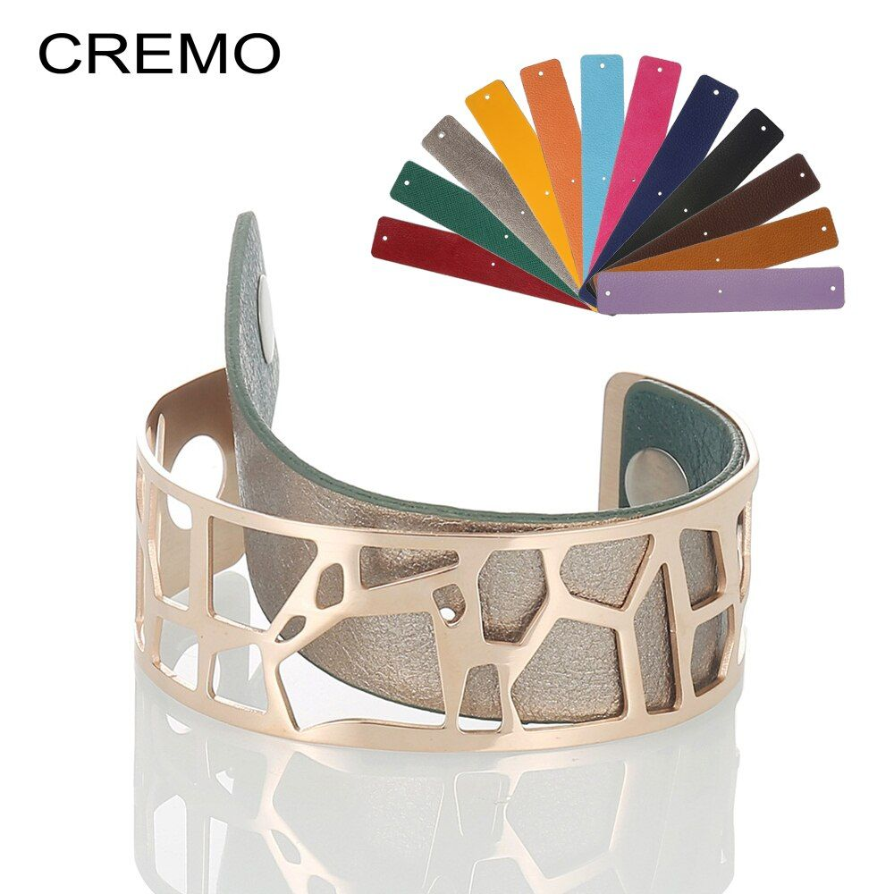 Cremo Giraffe Bracelets & Bangles For Women Stainless Steel Jonc Bijoux Femme Cuff Bangle Reversible Leather Cuff Bangles