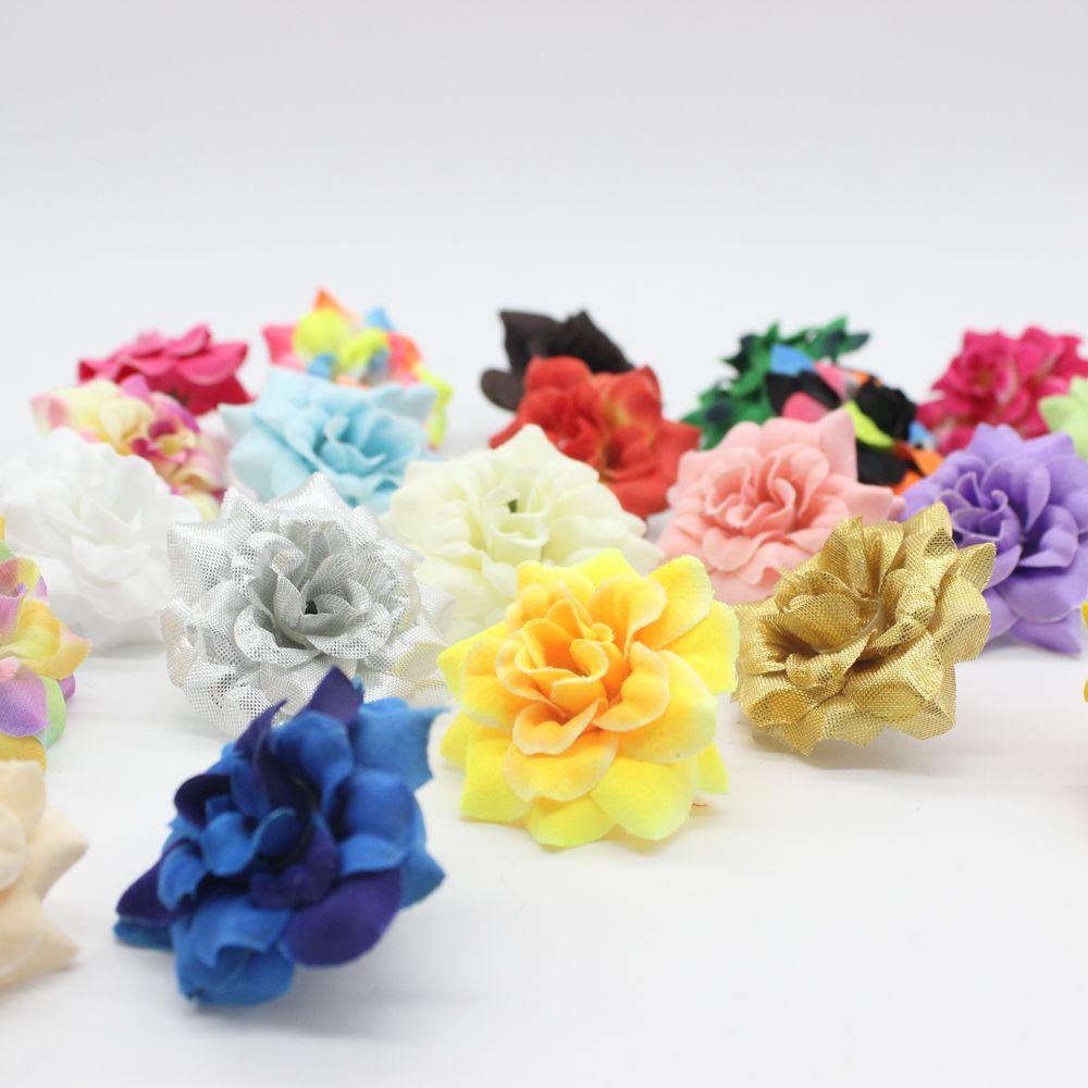 100 Pièces 1.77 Pouces de Soie Artificielle Petite Rose Fleur Chefs Jardin Décor Party & Pince à Cheveux De Mariage Faveurs AFH0047