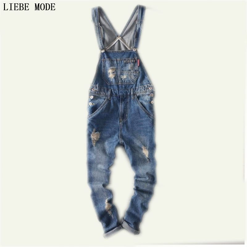 2016 Для мужчин S штаны с подтяжками плюс Размеры Комбинезон Джинсы для женщин для Для мужчин мода Slim Fit Джинсовые комбинезоны Для мужчин синий...