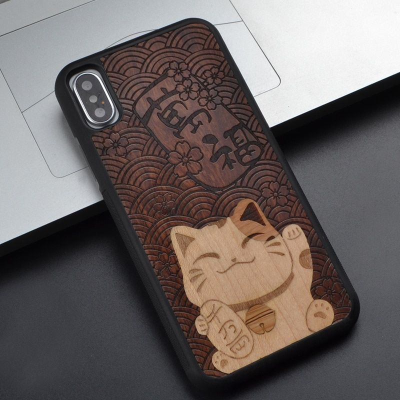 Animal Luck cute cat For Samsung Note 8 For Iphone 8 7 6 S Plus X For Huawei P10 Plus For Sony z 4 5 Wooden Phone Case