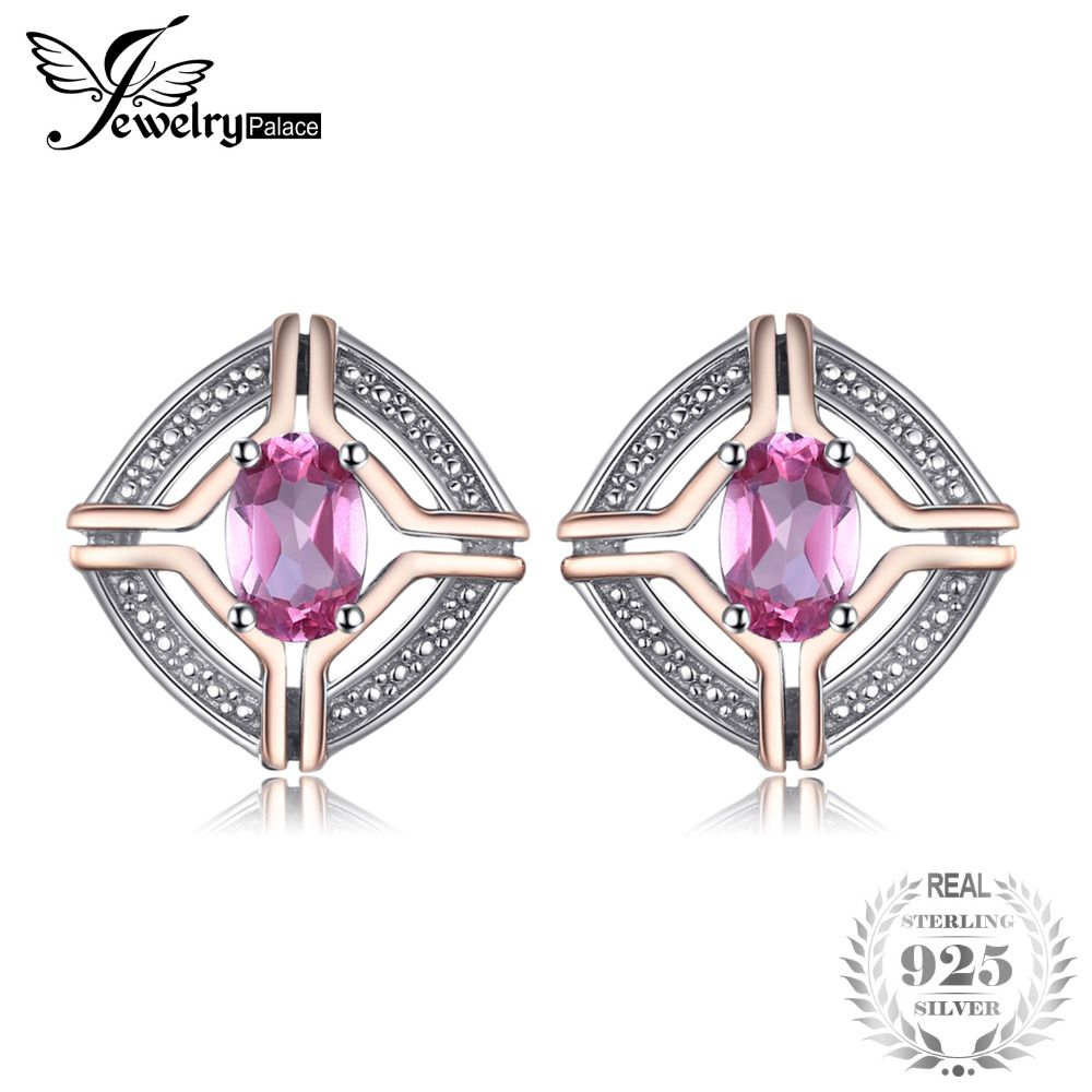 JewelryPalace Classical 1ct Oval Shape Natural Pink Topaz Stud Earrings For Woman Real 925 Sterling Silver Vintage Fine Jewelry