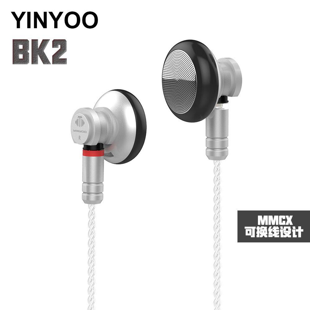 AK Neueste Yinyoo BK2 In Ohr Kopfhörer HiFi Bass Ohrhörer Headplug Sport Headset mit MMCX Silber Überzogene Kabel KZ ZST CCA C10 TRN