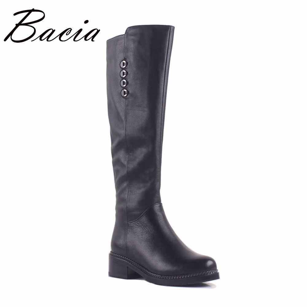 Bacia Cow Leather Long Boots Short Plush Inside Fashion 4.3cm Thich Heel Woman Boots Black botas mujer Size 35-40 MA003