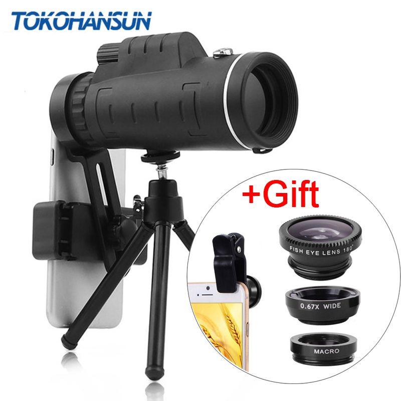 TOKOHANSUN 40X téléobjectif Zoom téléphone lentille télescope 40x60 lentilles avec trépied pour IPhone + Fisheye grand Angle Macro 3In1 lentille
