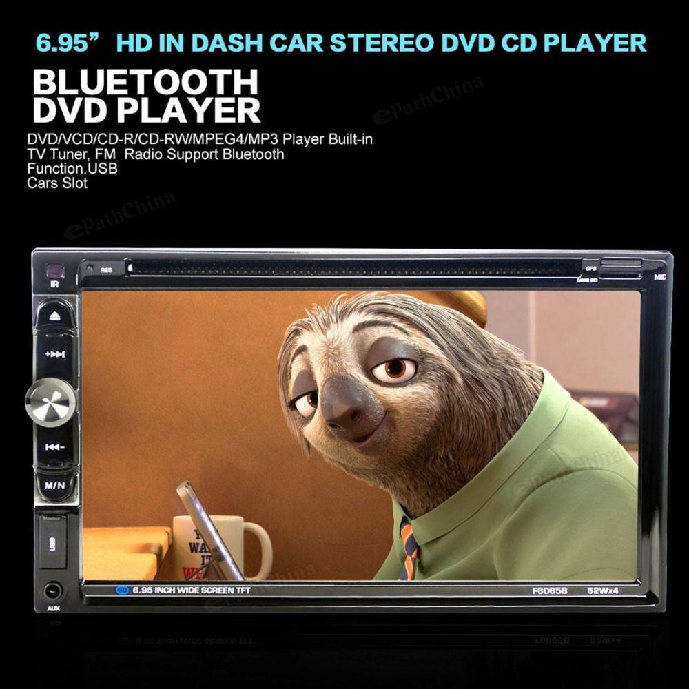 6065B 6.95'' 12V Bluetooth Car Stereo Radio Handsfree Touchcreen Double 2 DIN Auto FM DVD CD Player Head Unit + Remote Control