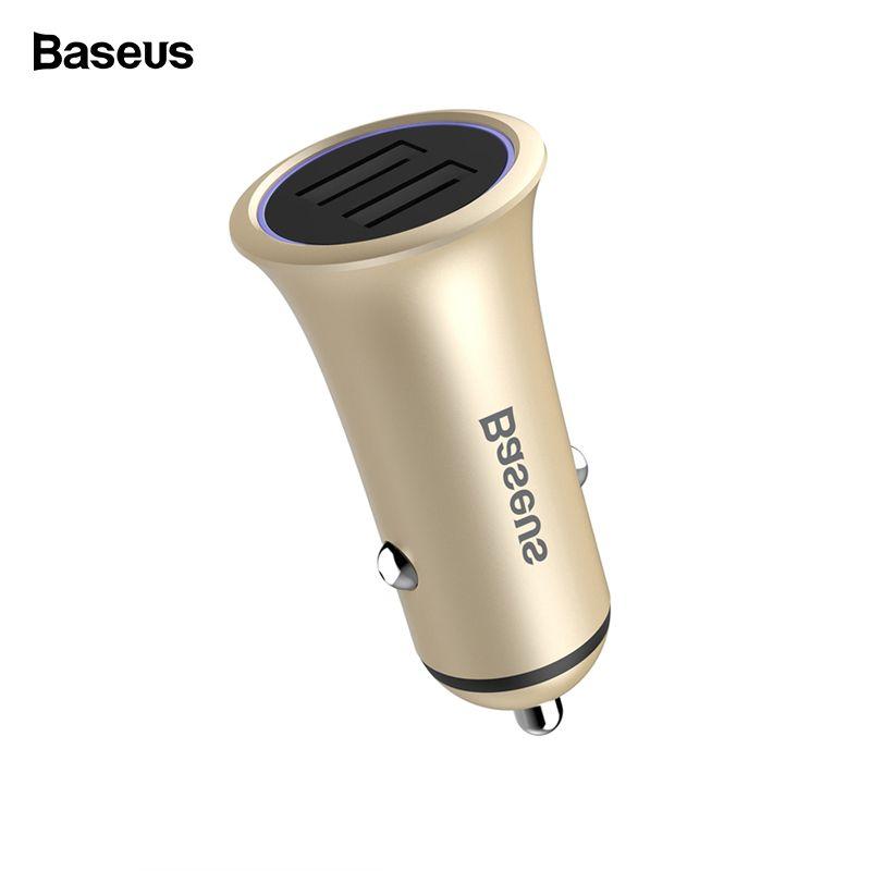Baseus Metall Dual USB Auto Ladegerät Für iPhone Samsung S10 Xiao mi mi 9 LED Licht Schnelle Auto Lade Handy ladegerät Adapter