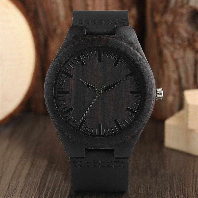 Modern Full Black Men's Ebony Wood Watch Quartz Hand-made Bamboo hombre Wristwatch with Genuine Leather Watchband Gift for Men