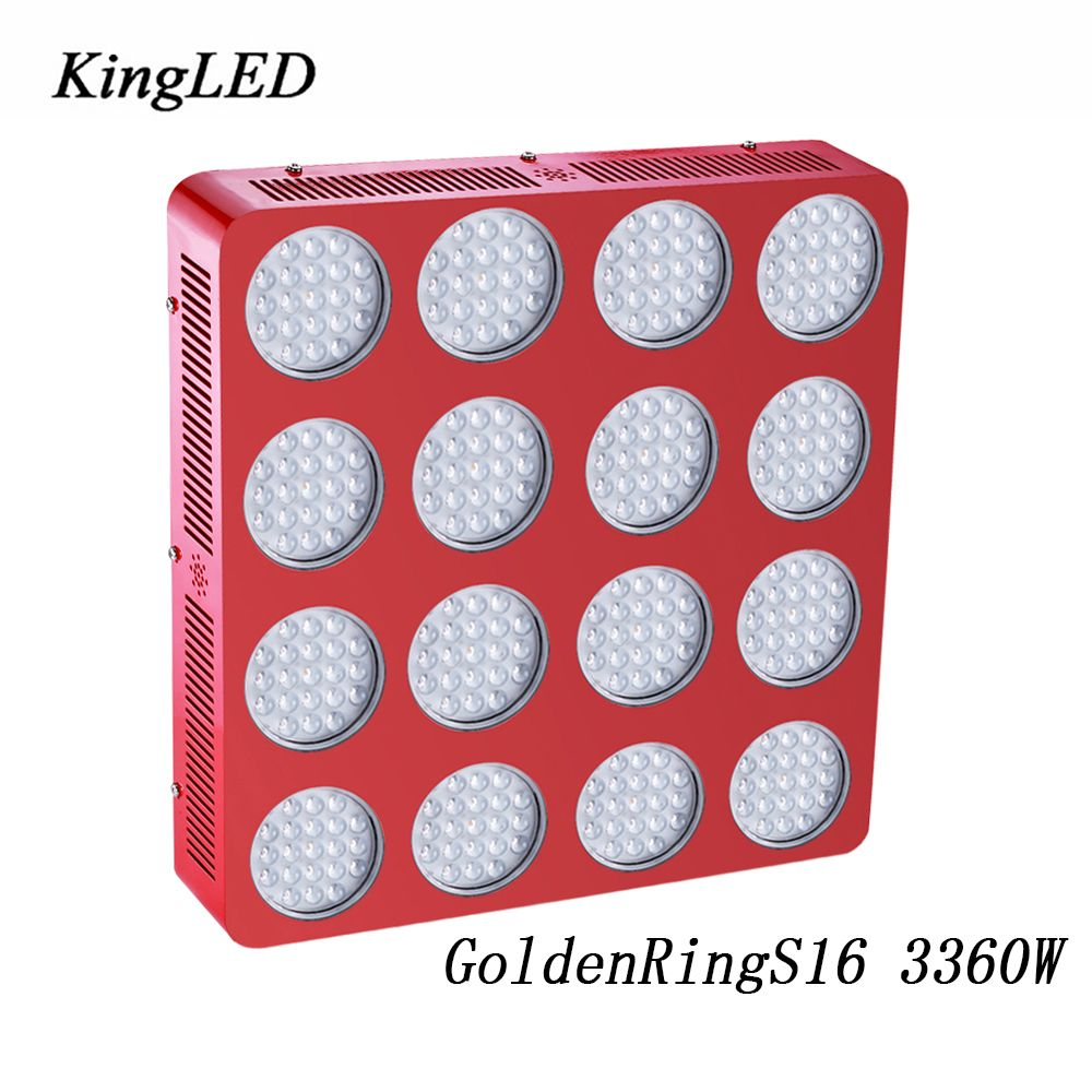 GoldenRing S16 3360W Double Chips Full Spectrum LED Grow Light 380-730nm Armed With Integrated Power Lens For Flowering Growing