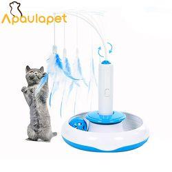 APAULAPET الحيوانات الأليفة القط الكهربائية اللعب دعابة القطط التفاعلية لعبة الدورية مصممة مضحك ريشة لعب للحيوانات الاليفة القطط