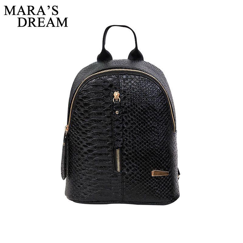 Mara's Dream 2017 PU Leather Women Backpack Crocodile Pattern Solid School Backpack Female Preppy Style Women Small School Bag
