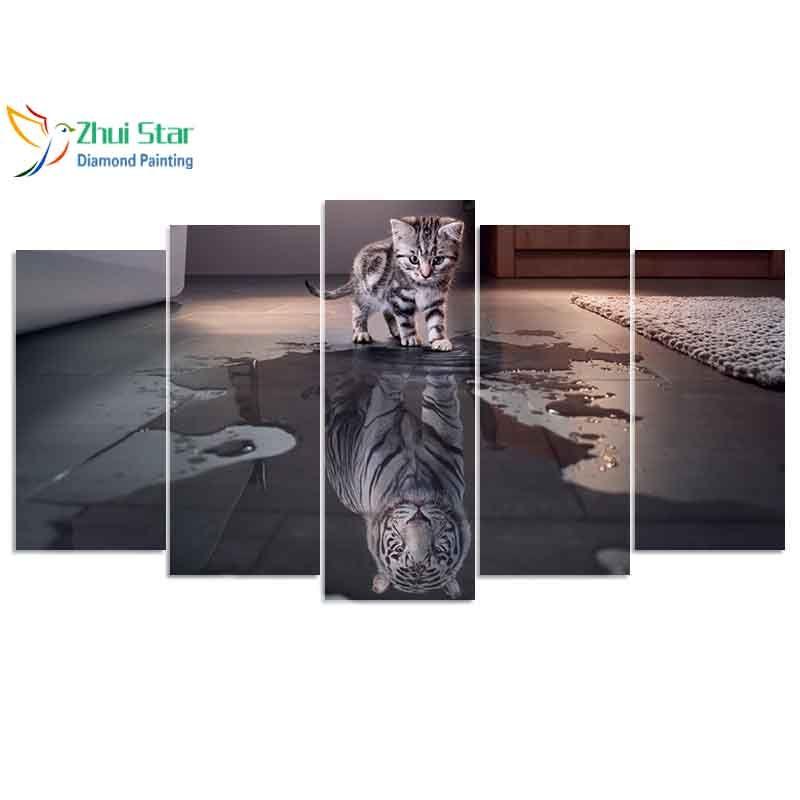 Zhui star 5D DIY full Square drill Diamond drawing Cross Stitch Cat & tiger 5pcs Embroidery Rhinestones Mosaic Home decor gift