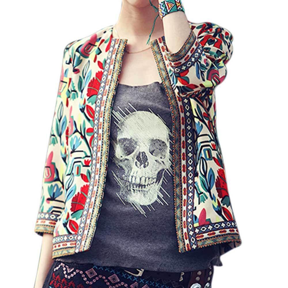 XXXXL Плюс Размеры Куртка Верхняя одежда Для женщин ретро Винтаж Этническая Цветочный принт вышитые короткая куртка Тонкий Пальто Chaquetas Mujer