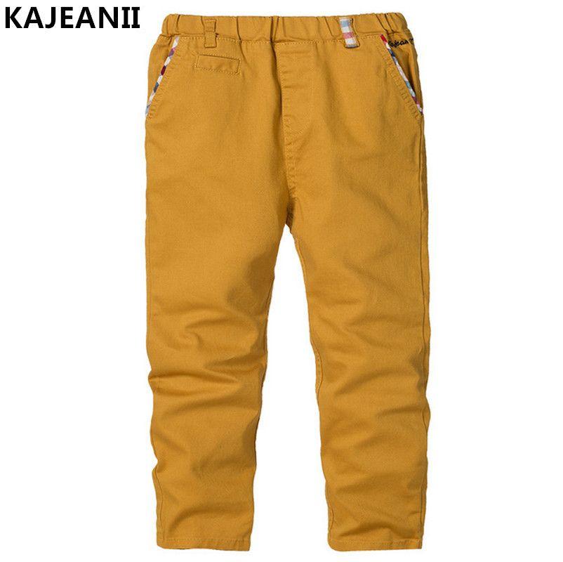 KAJEANII 2017 printemps automne garçon pantalon coton pantalon loisirs enfants écolier enfants pantalon pour 2-8 T couleur Beige blanc